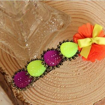 Handmade gem bow clip hair accessory hairpin vintage small accessories hair pin female